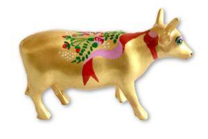 Ribbon on gold mini cow – PP-R2232